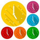 Clock vector icons set with long shadow. Vector icon Royalty Free Stock Photos