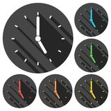 Clock vector icons set with long shadow. Vector icon Royalty Free Stock Image