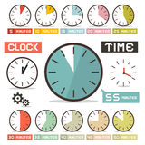 Clock Vector Set in Flat Design Style Royalty Free Stock Photography