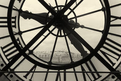 Clock and view of Montmartre, Paris