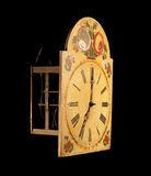 Clock vintage wall. Isolated flowers wooden Royalty Free Stock Photo