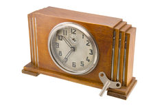 Clock. Vintage clock on white background stock photos