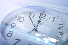 Clock and virtual screen Stock Photography