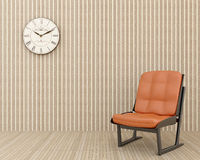 Clock on the wall and chair Royalty Free Stock Photos
