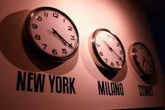 Clock on the wall. Clocks on the wall - world Stock Image