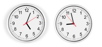 Clock on wall isolated with clipping path Royalty Free Stock Photography