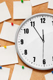 Clock on wall with note. Clock  on yellow wall with note Royalty Free Stock Photo
