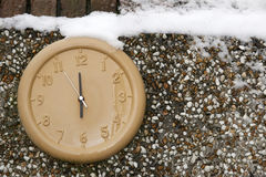 Clock on a wall in the winter season Royalty Free Stock Photography
