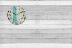 Clock with wall wood backgrounds stock images