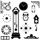 Clock and watch collection, black interior element Royalty Free Stock Image