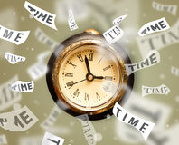 Clock and watch concept with time flying away Royalty Free Stock Images