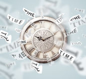 Clock and watch concept with time flying away Royalty Free Stock Photos