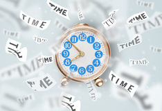 Clock and watch concept with time flying away Stock Image