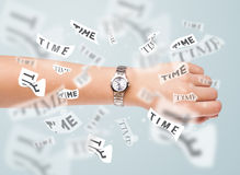 Clock and watch concept with time flying away Royalty Free Stock Photo
