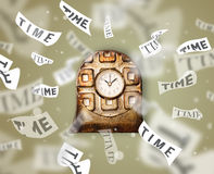 Clock and watch concept with time flying away Royalty Free Stock Photography
