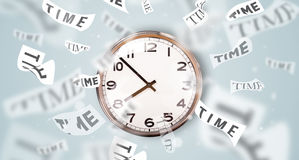 Clock and watch concept with time flying away Stock Images