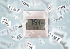 Clock and watch concept with time flying away Royalty Free Stock Image