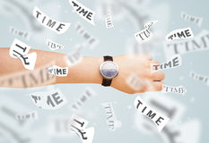 Clock and watch concept with time flying away Stock Photo