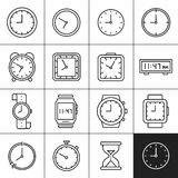 Clock and watch icons Stock Images