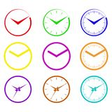 Clock, watch. Symbolic images hours of different colors and different shapes of arrows Stock Photos