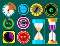 Clock watches vector timer colorful measurement tools number digital information stopwatch illustration. Clock watches vector different types of circle timer stock illustration