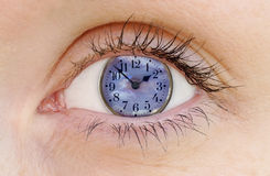 Clock Watching. Concept: watching the clock - passing time - as time goes by - body clock - passage of time, etc stock illustration