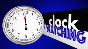 Clock Watching Bored Slow Time Passing Words. 3d Illustration Stock Photos