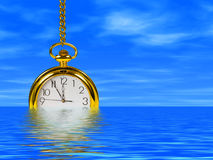 Clock in water. Cloudy sky on background