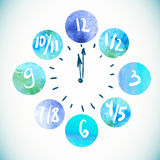 Clock, Watercolor  elements Royalty Free Stock Photos