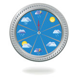 Clock with weather icons Stock Photo