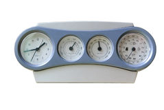 Clock-weather station with a record-low readings of atmospheric pressure Stock Photo
