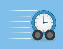 Clock Wheels Speeding. Clock with wheels speeding through Royalty Free Stock Image