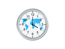 Clock whit world map. Isolated analog clock whit world map, on a white background Stock Images