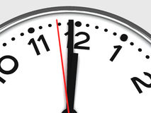 Clock at 12:00 Midnight or Noon. Simple clock with hands pointing to either one second before twelve o'clock midnight or noon, cropped royalty free illustration