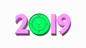 2019 and clock 3d rendering. 2019 and clock in a white background 3d rendering Royalty Free Stock Photo
