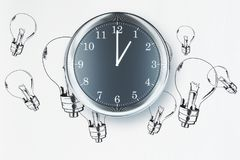 Idea concept. Clock on white background with lamps sketch. Idea concept. 3D Rendering Stock Photography