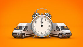 Clock and White Truck-Fast shipping. Royalty Free Stock Photography