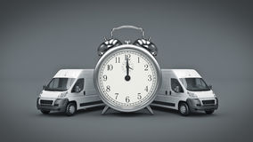 Clock and White Truck-Fast shipping. Stock Photos