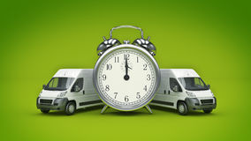 Clock and White Truck-Fast shipping. Stock Image