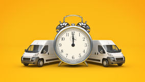 Clock and White Truck-Fast shipping. Royalty Free Stock Photo