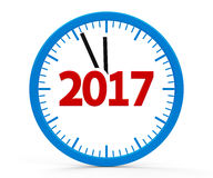 Clock 2017, whole. Modern isolated clock on white background represents new year 2017, three-dimensional rendering, 3D illustration Stock Photos