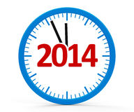 Clock 2014, whole. Modern  clock on white background represents new year 2014, three-dimensional rendering Stock Photography
