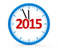 Clock 2015, whole. Modern  clock on white background represents new year 2015, three-dimensional rendering Stock Photos