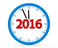 Clock 2016, whole. Modern  clock on white background represents new year 2016, three-dimensional rendering Stock Images