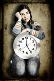 Clock Woman Royalty Free Stock Images
