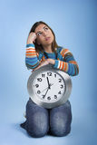 Clock Woman thinking Royalty Free Stock Images