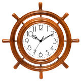 Clock in wood helm Stock Photos