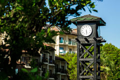 Clock on a wooden tower Stock Photography