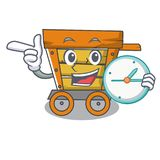 With clock wooden trolley character cartoon. Vector illustration royalty free illustration