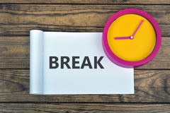 Clock and word Break Royalty Free Stock Image